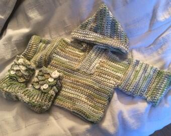 Handmade Crochet Baby Boy/Girl Hoodie And Boots Set   Size Preemie/0-3 Months