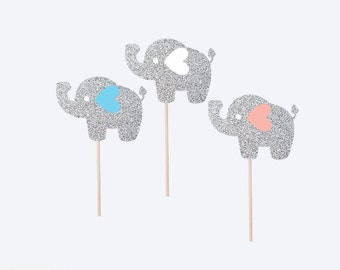 12 xElephant Cupcake Topper - First Birthday Cupcake Topper - Elephant Party Decor