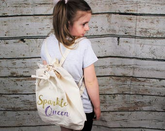 Sparkle Queen Purple Gold Glitter Print Canvas Drawstring Backpack