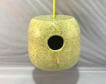 Small Bright Yellow Hanging Birdhouse - Stoneware