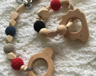 Wooden BearToy Teether, Montessori Toy, Teething Toy, Sensory Baby Toy,First baby toy, Baby Shower Gift