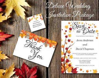 Fall Leaves Wedding Invitation, Autumn Wedding, Printable, Deluxe Wedding Invite, RSVP, DIY Template, Instant Download, Editable PDF E43A