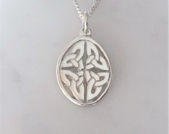 Celtic Oval Trinity Knot Necklace - Sterling Silver Celtic Pendant Necklace