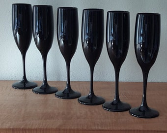 Libbey Black Wine Glasses with Stem~Amethyst Black Champagne Flutes by Libbey~Set of 6 Flutes