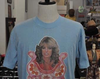Vintage 1970s Farrah Fawcett Tee Shirt Tee Sz L