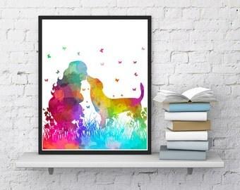 Nursery decor Girl with dog Kids wall art Folded card  Watercolor art Dog print Dog wall decor Natural print Printable art Girly gift
