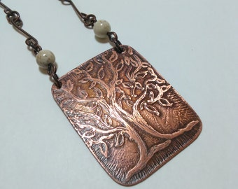 Tree of life pendant necklace, copper necklace, etched copper necklace, gift for her
