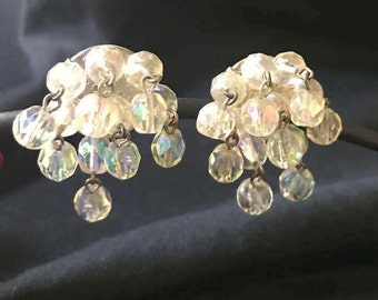 Vintage Glass Beaded Clip Earrings, Made in West Germany