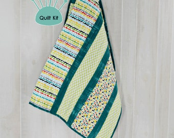 Quilt kit, Pre-Cut, Minky backed - Stripes and Raindrops Quilt Kit