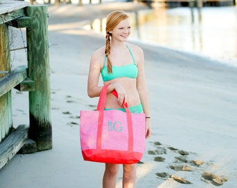 Monogram tote bag, monogramed beach bags, coral pinstripe tote, monogrammed gifts