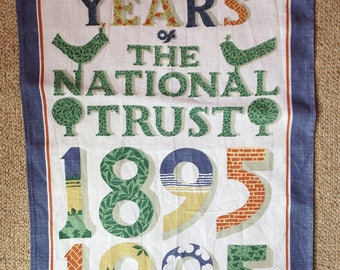 Pat Albeck Tea Towel - National Trust Tea Towel - Vintage Linen Drying-up Towel - National Trust Centenary Souvenir - Irish Linen Towel