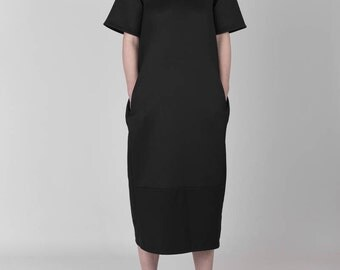 Futuristic Minimalist Modern Black Calf-Length Midi Dress
