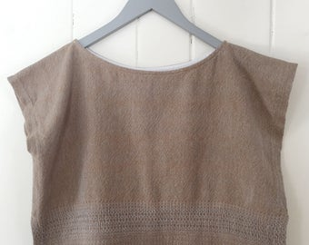 Handwoven, one-of-a-kind, women's box top — The π Collection: Pecan