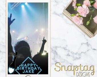 Custom Snapchat Geofilter || birthday, neon sign, champagne, bottle pop, blue neon, neon, birthday filter, guys birthday, nightclub birthday