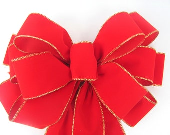 Outdoor Wired Red Velvet Christmas Bow