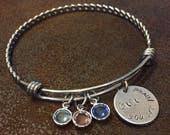 "hand stamped grandma bangle bracelet, personalized grandmother bracelet with birthstones, Gigi bracelet, ""You are loved"" Mother's Day gift"
