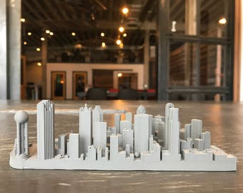 Metal infused Dallas Texas City Skyline / Downtown Model 3D Printed