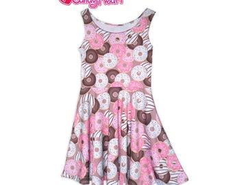Donut Dress Donuts Skater Dress Donut Print Dress Doughnut Pink Sprinkled In Stock & MTO Sz Xs-5XL