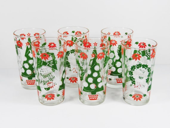 Continental Can Christmas Tumbler Set - 1950s Vintage - Six glasses with wreaths, poinsettias, Christmas trees etc - in EX cond