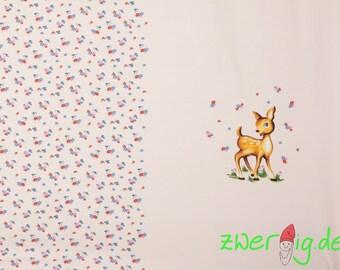 Jersey fabric cute deer on pink - Ökotex 100