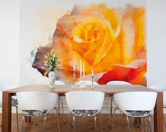 Large Photo Wallpaper Wall Mural for Dining Room, Living Room wall Decor, Bedroom Art Decor  - Yellow Rose