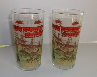 Two Vintage Kentucky Derby Mint Julep Glasses 1978.