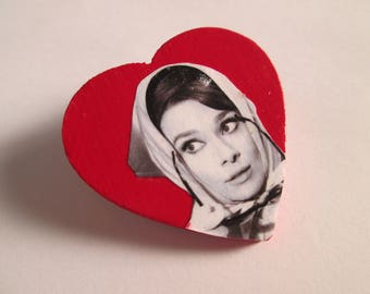 Audrey Hepburn Heart Pin // Charade (1963)
