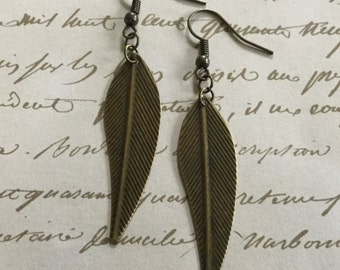Long Bronze Leaf Earrings with Delicate Leaves / Gift for Nature Lover