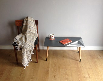 Scandi Style Upcycled Coffee Table Painted Grey and White with Triangle Design and Tapered Legs