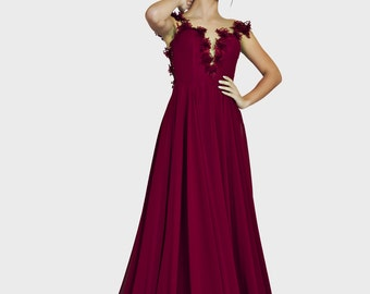 Bordeaux bridesmaid dress bridesmaid gown / Bride dress Mother of the bride dress Formal dress Prom gown Prom Dress Ball gown romantic dress