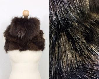 Vintage Fox chocolate/mahogany real fur snood/scarf/collar/gilet
