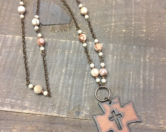 Rustic Cross Pendant Necklace, Rustic Iron Cross Necklace, Agate and Pearl Cross Necklace, Natural Brass Chain, Agate & Pearl Cross Necklace