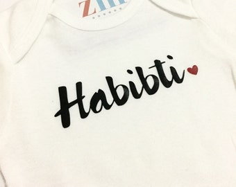 Habibti Habibi heart bodysuit, beloved, Arabic, Valentine's Day, Islamic gift, baby outfit, love, homecoming, Aqiqah, baby shower gift, Eid