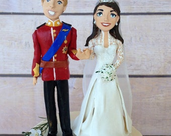 Clay British Royal wedding cake topper personalized figurines