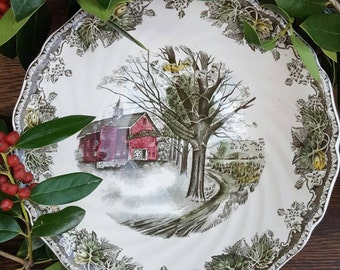 1950's Decorations/Dishes!- Friendly Village China- Vintage Bowl Autumn Mists- Johnson Bros-