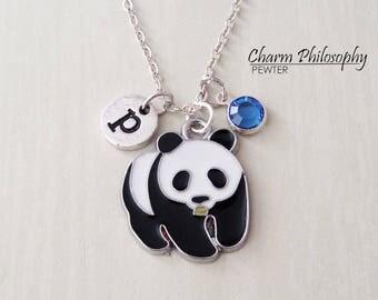 Panda Bear Necklace - Panda Jewelry - Monogram Personalized Initial and Birthstone