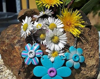 Flower Pink and blue (button) necklace made of polymer clay