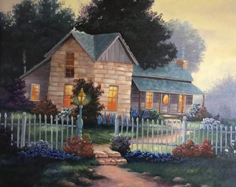 Bandera House, House with White Picket Fence, Country Home Painting, Lights Are On, Hand painted, Oil Painting, Home Decor, Wall Art,