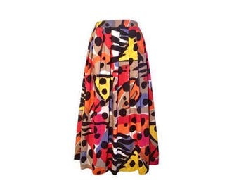 Abstract Floral Print, Vintage 1980's, Women's, Long, Calf Length, Pleated Skirt