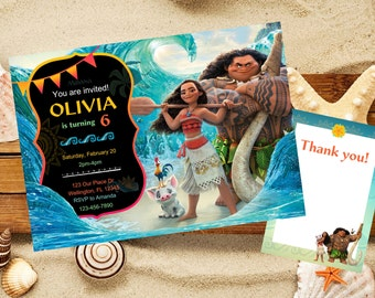 Moana invitation, Moana Birthday invitation, Disney Moana Invitation, Moana Party Invitation,Printable, Princess Moana