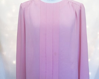 Pretty Pink Pleated Blouse - Size Large - *Discounted* Damaged/Stained