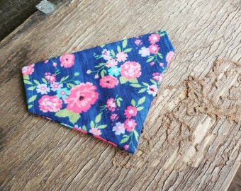 Dog Bandana, floral, flannel slide on bandana,  spring, pet accessory, stocking stuffer, dog lover, cats, navy, Pink Flowers