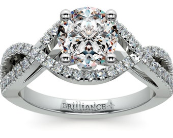 Cross Split Shank Diamond Engagement Ring in 18K White Gold
