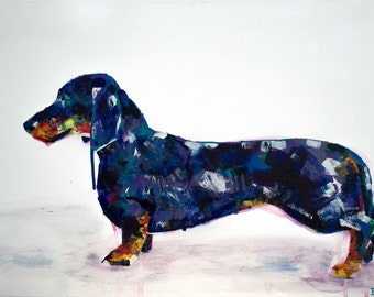 Dasching Dachshund - Acrylic on Canvas - Original