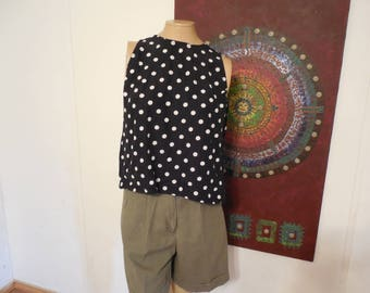 Vintage Polkadot Sleeveless Shirt / Vintage Polkadot Tank / Black with White Polkadots / Fritzi of California