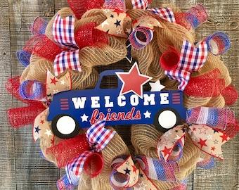 Patriotic wreath,fourth of July wreath,patriotic deco mesh wreath,Fourth of July deco mesh wreath,Burlap Fourth of July wreath
