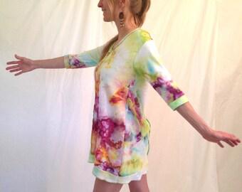 Ice Dyed Handmade Mini Dress, Size Medium / Small / XS, Hand Dyed, Tie Dye, Mini Dress, Colorful Dyed, Dyed Dress, Eco Chic, Comfortable