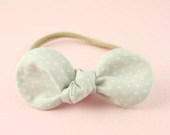 Grey Heart Bow Headband | Summer Bow Headband | Knotted Bow on Nylon Headband | Baby Girl Headband | Classic Hair Bow | Pretty White Bow