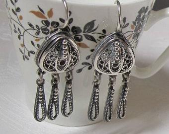 Silver Filigree Earrings. Drop Dangles 925 Sterling Silver. Jewelry 1970s. Mid Century. Boho. Gypsy. Gift for Women.