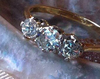 Vintage 1960's 18ct Gold Trilogy Diamond Half Hoop Ring BoutiqueByDanielle